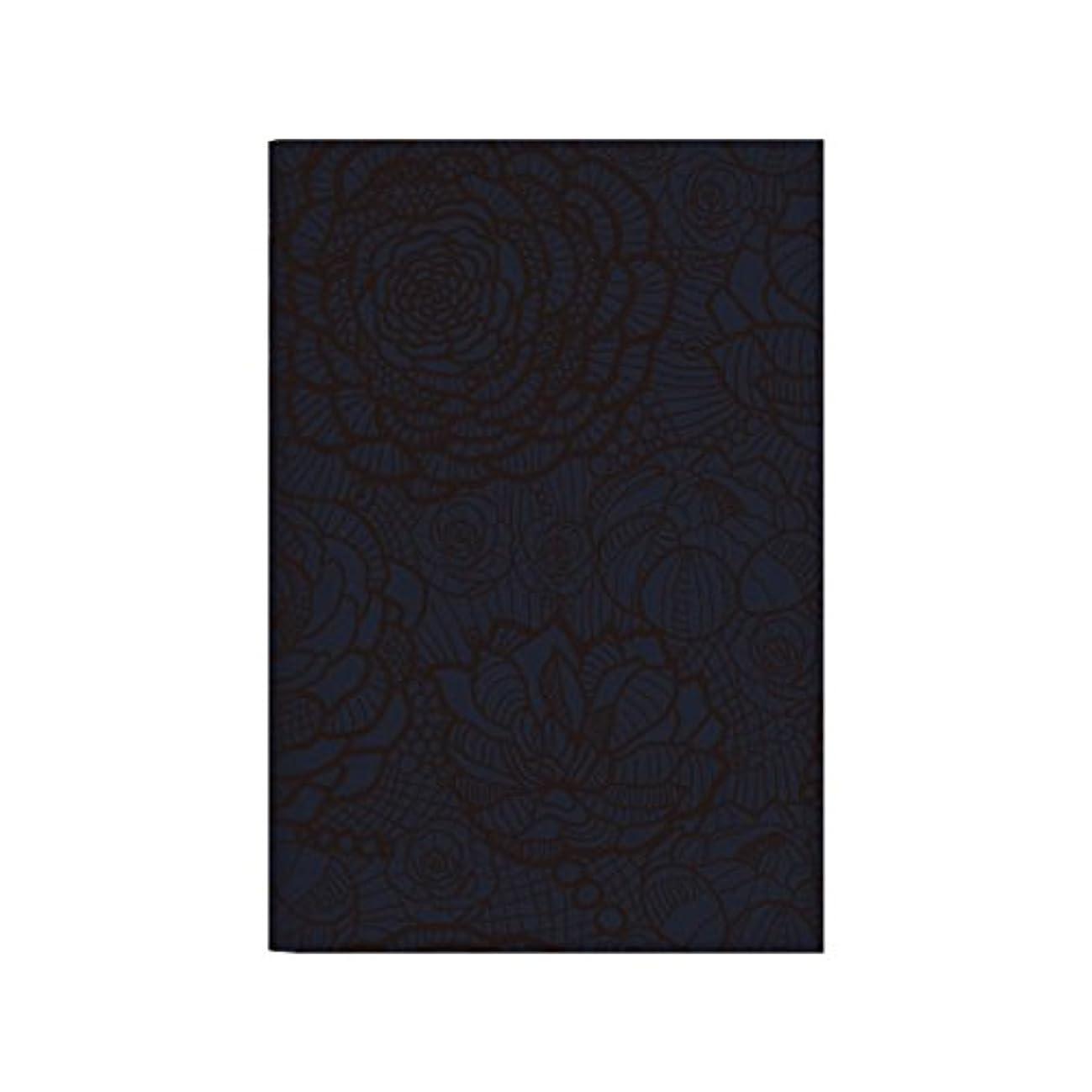 ノートカバー B5 レザー風 撥水機能 名入れ 2618お花のレース ( ブラック ) ネイビー