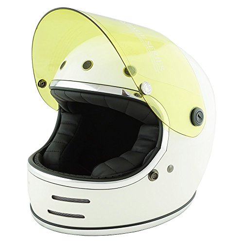 NEO VINTAGE レトロフューチャー フルフェイス SG規格品 [ホワイト×イエローシールド 白 Lサイズ:59-60cm対応] VT-9 バイクヘルメット