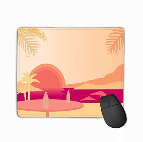 Family Mouse Pad, Rechteck Rechteck Rutschfeste Gummi Mousepad Beach Palms Sonnenschirme Tisch Obst Getränk Unter Abendhimmel Sonnenuntergang Natur