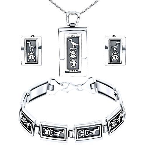 Juego de joyas de plata de ley 925 con jeroglíficos y pendientes de Egipto envejecido, rectángulo oxidado, collar para mujer