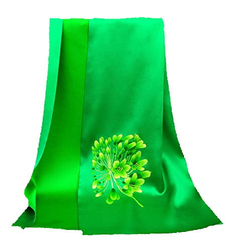HangErFeng Scarf Double-Deck Silk Hand Embroidery Hair Scarf Sunscreen Shawls Gift Packaging Green