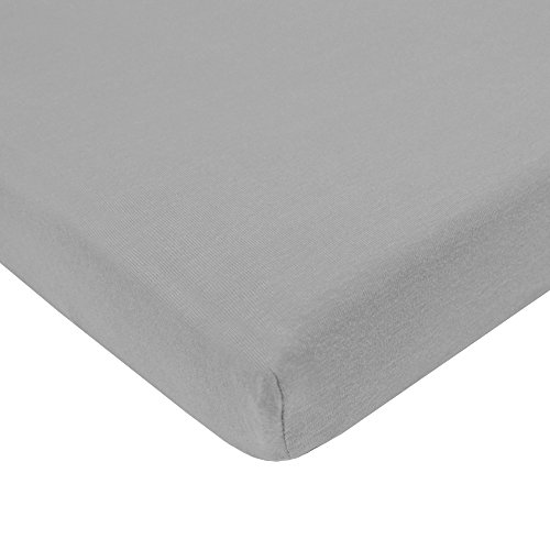 American Baby Company 100% Natural Cotton Value Jersey Knit Fitted Portable Mini-Crib Sheet, Gray, Soft Breathable, for Boys and Girls, Pack of 1