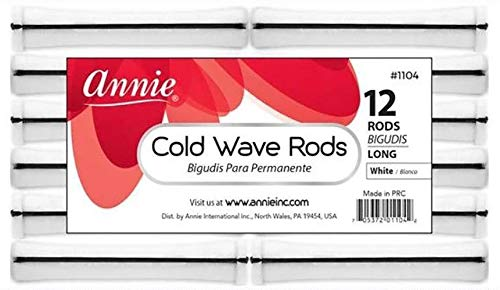Annie Long Cold Wave Rods with Rubber Band for Hair Curling and Perm Styling - White - Set of 3 Packs of 12 (36 Pieces)