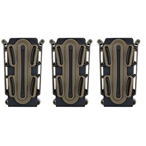WOLFBUSH Tactical Fast Mag, 3Pcs WST Flexible TPR Scorpion Mag Pouch Fast Mag for 9mm Luger/.45 ACP Mag - Black Tan