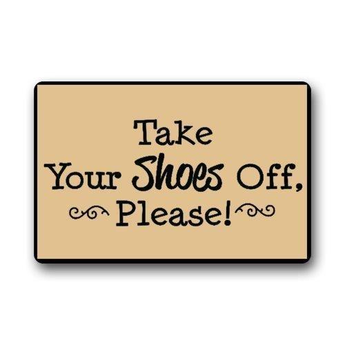 Funny House Veuillez Prendre Vos Chaussures Off Citations personnalisé Paillasson Paillasson Lavable en Machine Tapis antidérapant Tapis de Salle de Bain Décor de Cuisine Zone Tapis 76,2 x 45,7 cm