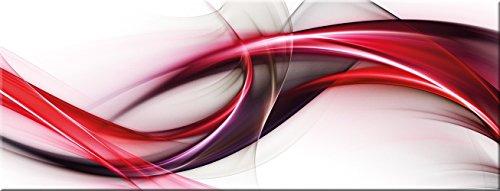 artissimo, Glasbild, 80x30cm, AG1954A, Red Wave, rote abstrakte Welle, Bild aus Glas, Moderne Wanddekoration aus Glas, Wandbild Wohnzimmer modern