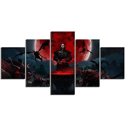 chgznb Leinwanddrucke 5 Stück Gwent The Witcher Kartenspiel Poster Fantasy Art Leinwand Gemälde Hd The Witcher Games Kunst Wandbilder für Schlafzimmer Dekoration Drucke auf Leinwand