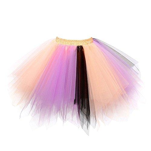 URVIP Women's Vintage 1950s Tutu Multicolor Petticoat Ballet Bubble Dance Skirt Peach Lavender Black L/XL