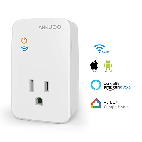 Ankuoo REC Lite White Wi-Fi Smart Plug with Push Notifications, New Firmware with AP Mode, Guarantees Connection to Your Router, Works with Alexa