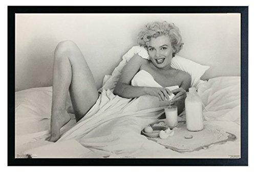 Marilyn Monroe Breakfast Framed Poster Print 36x24. On a Black Frame Made in USA.