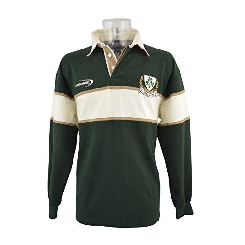 Lansdowne Polo T-Shirt da Rugby a Maniche Lunghe Stemma Irlanda con 3 Trifogli - XL