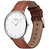 Nordgreen Native Scandinavian Silver Unisex Analog 36mm Watch with Brown Leather Strap 10032