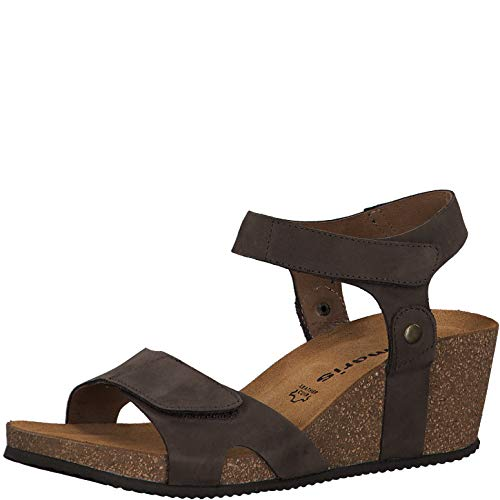 Tamaris Damen Sandalen 28712-24, Frauen Keilsandalen, Frauen weibliche Lady Ladies feminin elegant Women's Woman leger,Espresso,37 EU / 4 UK