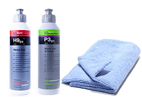Koch Chemie Politur Set Heavy Cut Schleifpolitur + Koch Chemie Micro Cut & Finish mit MC Mikrofasertuch