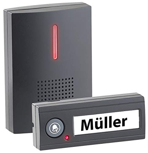 CASAcontrol Funkklingel: Funk-Türklingel, Licht- & Ton-Signal, 100 m Reichweite, WASSERGESCHÜTZT MIT IPX4, schwarz (Türglocke)