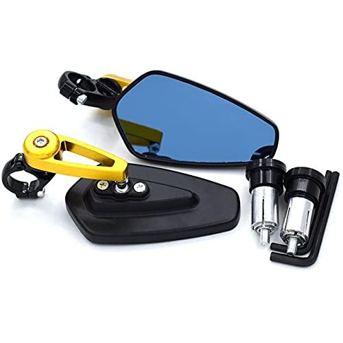 Espejo de la Motocicleta para Honda Shadow 600 CB650F CB 900 Hornet Hornet 900 Dax CG 125 CBR 1100 XX Espejos Retrovisores De Manillar De Extremo De Barra De Espejo De Motocicleta (Color : Oro)