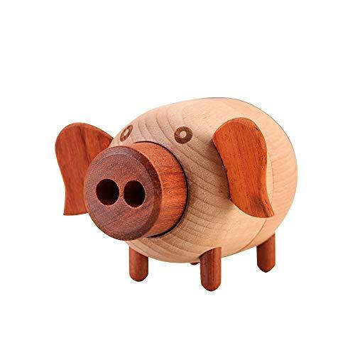 Sebasty Ornamente Nettes Schwein Aus Holz Spieluhr Uhrwerk Laufwerk Ahorn Kinder Basteln Kreatives Geschenk Geburtstagsgeschenk Reine Musik (Color : B)