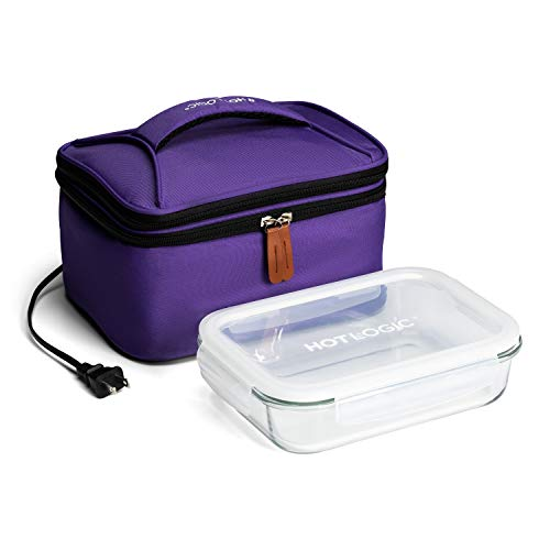 HotLogic 16801172-PUR Food Warming Tote Lunch Bag Plus 120V with Glass Dish, Purple