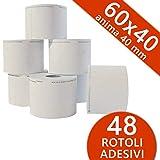 Confezione 48 Rotoli in Carta Termica Adesiva mm 60x40 mt Anima 40 mm per BILANCE ELETTRONICHE Carta Termica 1^ Qualità