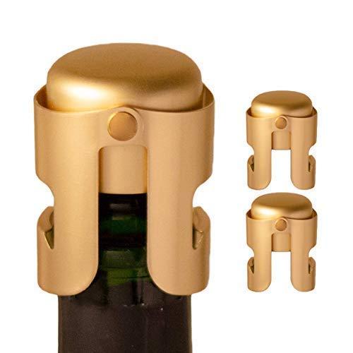 AMICA Gold Stopper für Champagne/Cava/Prosecco/Sekt, keine Lecks, keine Verschüttungen (Gold, 3)