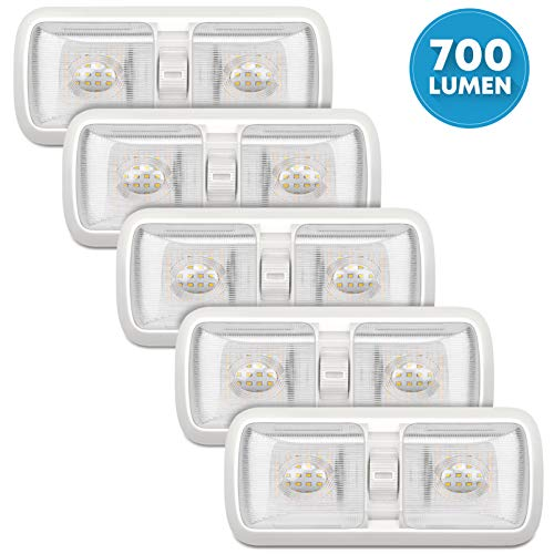 Kohree Upgrade 700 Lumen Led RV Ceiling Double Dome Light Fixture, 5 Pack 12V Camper Interior Lighting with ON/Off Switch for Trailer RV Car Boat, Clear Cover (Natural White 4000-4500K, 60 X 2835SMD)