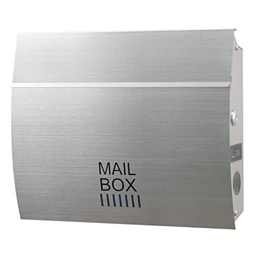 LEON (レオン) MB4801 ポスト おしゃれ 壁掛け 防水 屋外 雨 かわいい デザイン 郵便受け シルバー 防犯 鍵付き 日本製 無塗装ヘアライン