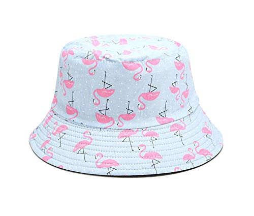 MSFX Flamingo Flower Plant Print Double-Sided Fisherman Hat,Summer Sun Hat Basin Hat,Male and Female Foldable Leisure Outdoor Cap-E