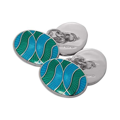 Boutons de Manchette Ovales Vagues Bleus et Verts en Argent 925/1000 et Email - A chaînette