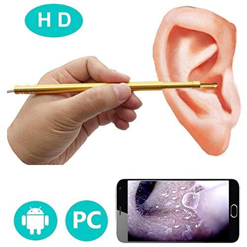 Yangyang Digitales Otoskop USB Ohrfernrohr Inspektionskamera mit 6 LED-Lichtern, 3-in-1 Ohrmikroskop Endoskop Ohrenschmalz Entferner Werkzeug für Android Windows