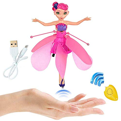 TYZEST Flying Fairy Doll for Children Over 5 Years Old,RC Infrared Induction Helicopter Kids Toys Teen Toys Flying Princess Doll (Flying Fairy)