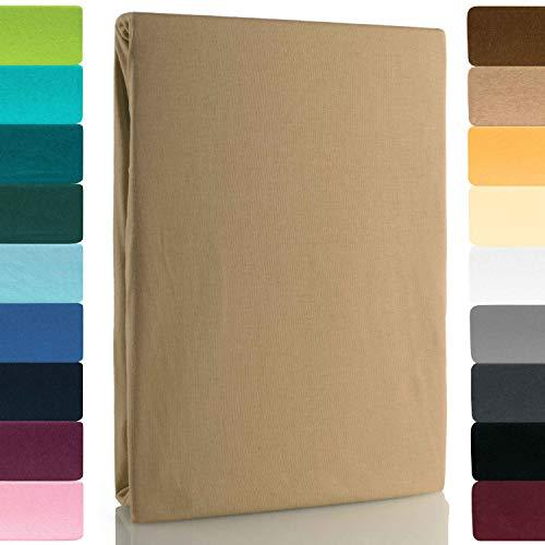 Lavea Jersey Spannbettlaken, Spannbetttuch, Premium Serie LEA, 120x200cm, Sand, 100% gekämmte Baumwolle, hochwertige Verarbeitung, mit Gummizug und OekoTex100