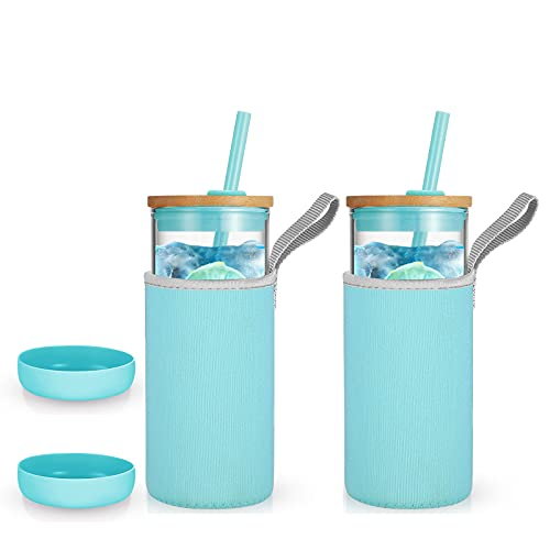 Tronco Iced Coffee Cup Glass Tumbler with Straw and Bamboo Lid|Wide Mouth Reusable Smoothie Cup with Straw and Insulator Sleeve|Borosilicate Glass Water Bottle with Lid|20oz