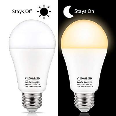 LOHAS A19 Dusk to Dawn Sensor LED Light Bulb, 3000K 5000K E26 Base Lamp 100W Equivalent (12W), 2 Pack