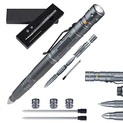 Technical Pens Multi-tool pen for Survival Grade Badass EDC - Tactical Flashlight Glass Breaker Ballpoint Pen Multi Tool - 2 Ink Cartridges 3 Batteries - Gift Boxed
