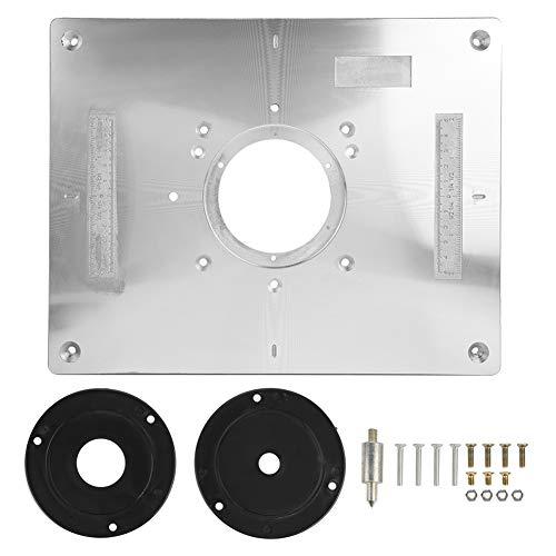 """Placa de inserción de la mesa del enrutador aleación de aluminio con anillo de inserción e instalación de tornillos para bricolaje máquina de grabado de la madera 11.81 x 9.25 x 0.37"""""""