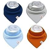 M.M.C. Pañuelos triangulares para bebé, 4 unidades, de algodón, con botones...