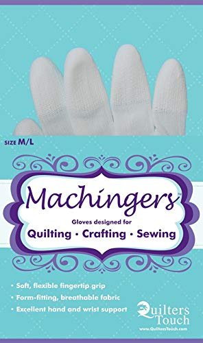 Machingers Quilting Gloves for Free-Motion Sewing – Lightweight and Form-Fitting Nylon-Knit Support Gloves Specifically Designed for Machine Quilters, by Quilter's Touch (Medium/Large)
