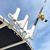 FISHMASTER MARINE TOWERS AND ACCESSORIES 5 Rod Holder -Fishing Poles- Adjustable T-Top Rocket Launcher - White - Universal Inserts