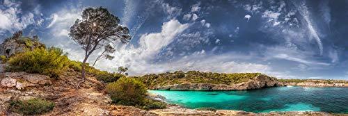 Voss Fine Art Photography Panorama Cuadro en Aluminio/Aludibond. Isla Mallorca con playa y haya, Cala Moro y bonito ambiente nubes