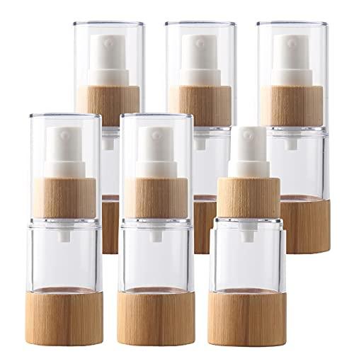 TIANZD 6 Pezzi 20 ml Airless Bottiglie Spray Vuoto Trasparente con Pompa Bambù, Vacuum Plastica Fine Nebbia Flacone Spruzza per Profumo Bottiglia Dispenser da Viaggio Portatile Campione