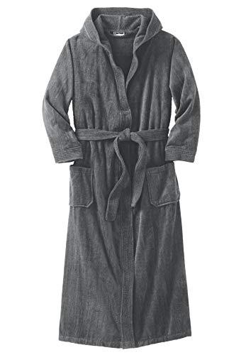 KingSize Men's Big & Tall Terry Velour Hooded Maxi Robe - Big - 5XL/6X, Steel