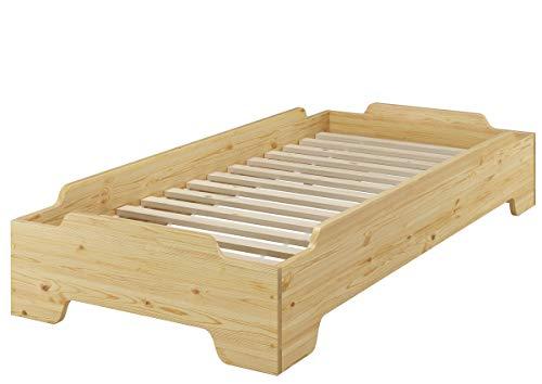 Erst-Holz® Stapelbett 100x200 Pensionsbett, Gästebett mit wählbarem Zubehör V-60.56-10, Ausstattung:Rollrost inkl.
