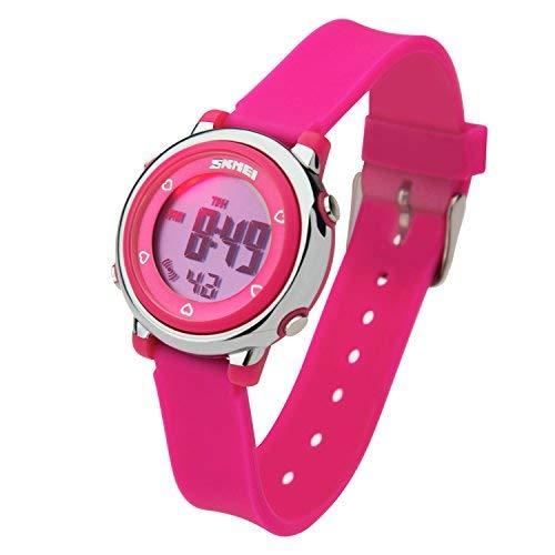Besser Line® Digital LCD Kinder Armbanduhr Band mit stundensignal, täglicher Alarm Kalender und Funktionen (Rosa)