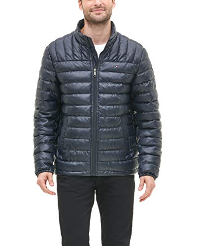 Tommy Hilfiger Men's Lightweight Quilted Faux Leather Puffer Jacket, Navy, X-Large