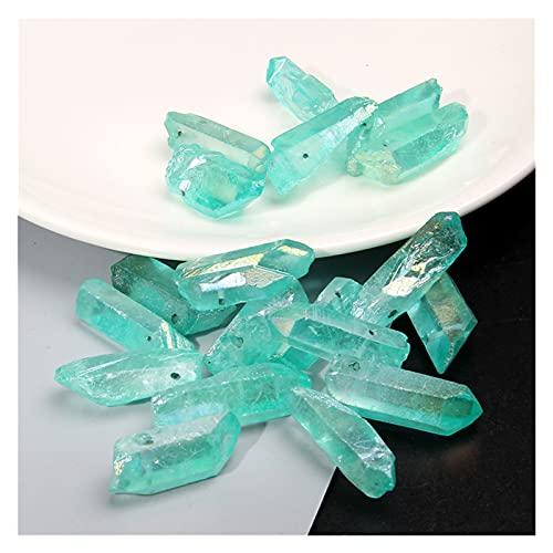 Pietre grezze 10pcs Blue Polished Quartz Crystal Stick Top Top Punto Punto Pendente Perle Crudo Cristallo Pietra Pietra Stick Stick Perline Allentate per Gioielli Fai da Te (Farbe : Type 2)