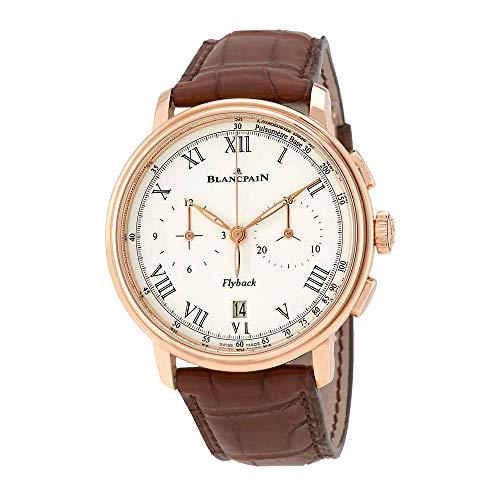 Blancpain cronografo Flyback Pulsometre bianco quadrante Brown in pelle...