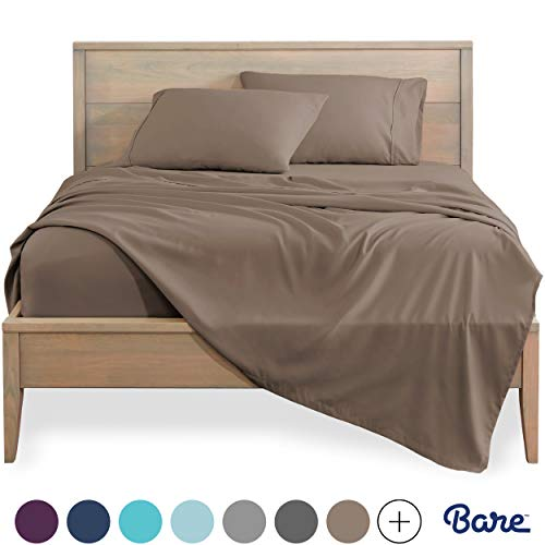 Bare Home Split King Sheet Set  1800 UltraSoft Microfiber Bed Sheets  Double Brushed Breathable Bedding  Hypoallergenic – Wrinkle Resistant  Deep Pocket Split King Taupe