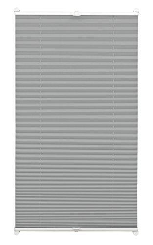 GARDINIA Plissee zum Klemmen, Blickdichtes Faltrollo, Alle Montage-Teile inklusive, EASYFIX Plissee verspannt mit zwei Bedienschienen, Schiefer, 80 x 130 cm (BxH)