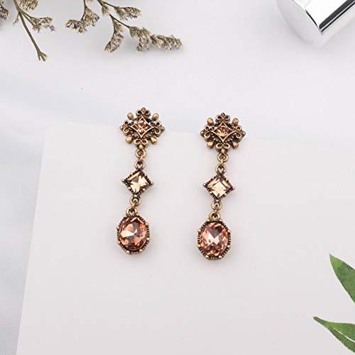 JINGM Style Vintage Métal Fleur Carré Ovale Cristal Goutte Boucles d'oreilles pour Les Femmes Tempérament Balancent