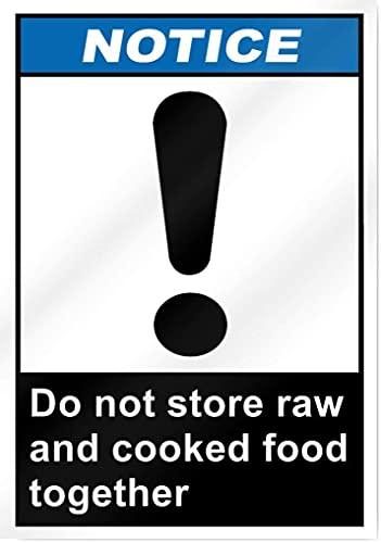 Inga Señal de estaño con texto en inglés 'Esdo Store' Raw And Cooked Food Together Notice Sign para estacionamiento, divertido Pub, decoración del hogar, aluminio, metal estaño de 20,3 x 30,5 cm